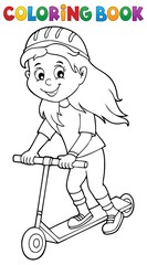 Coloring book girl on kick scooter theme 1