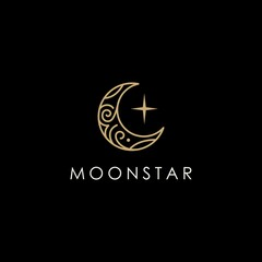 elegant crescent moon and star logo design line icon vector in luxury style outline linear