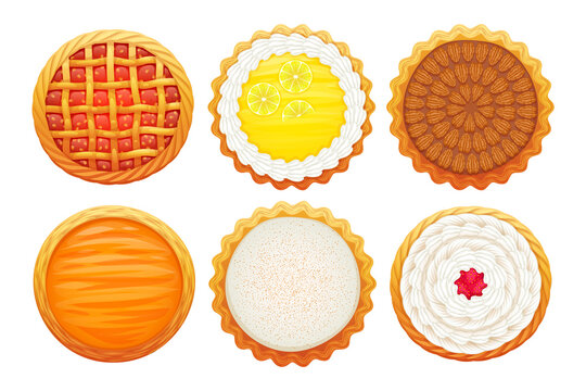 Colorful pies icons set. Sweet bakery vector.