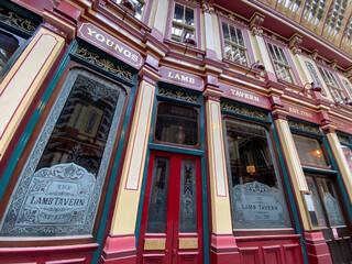 Exterior of The Lamb Tavern pub, owned by Young's, is seen in London