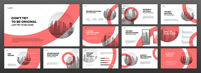 Modern powerpoint presentation templates set. Use for modern keynote presentation background, brochure design, website slider, landing page, annual report, company profile.