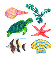 marine collection of underwater inhabitants of the ocean: sea turtle, Moorish idol fish, seashells, seaweed, starfish. Watercolor illustration isolated on a white background.