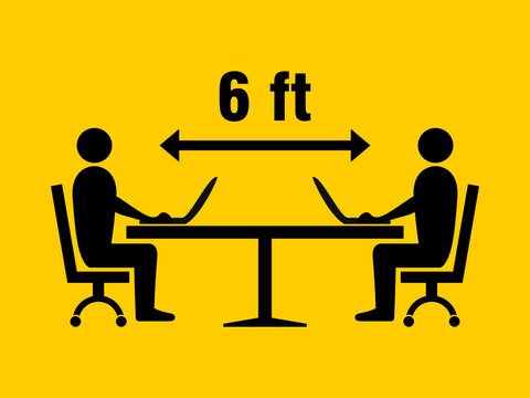Social Distancing Icon at the Office, Library or Study Room with People Figures Sitting around a Table, Keeping a Safe Distance of 6 Feet and Working with their Laptop Computers Icon. Vector Image.