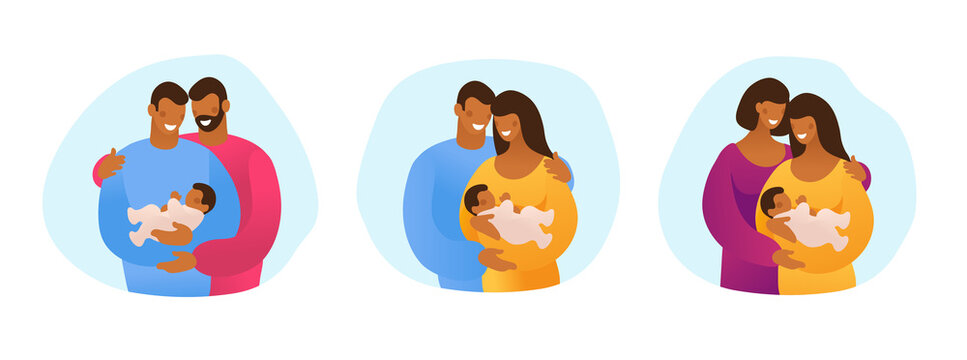 A set of LGBT couples with children, gays, lesbians, a traditional pregnant couple. Relations and rights of homosexual partners. Vector illustration in a flat cartoon style.