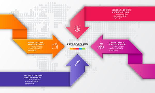 4 steps arrow infographic element,Business concept,Vector illustration.