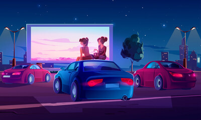 Foto op Aluminium Cartoon cars Outdoor cinema, drive-in movie theater with cars on open air parking. Vector cartoon illustration of summer night city with girls sitting on automobile roof and watching film on big screen