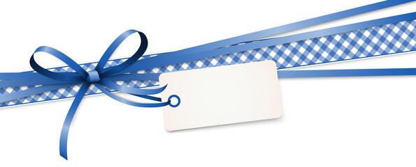 blue colored ribbon bow Fotobehang