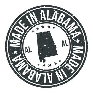 Made in Alabama USA Quality Original Stamp Design Vector Art Tourism Souvenir Round