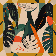 Ręcznie rysowany abstrakcyjny wzór zielonych liści