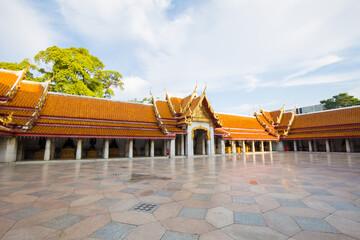 Wall Mural - Beautiful Thai MArble Buddhist Temple Wat Benjamaborphit, temple in Bangkok