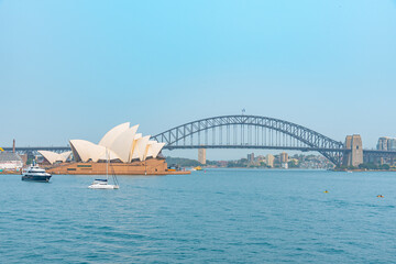 Aluminium Prints Sydney Sydney bridge and opera viewed from royal botanical garden, Australia