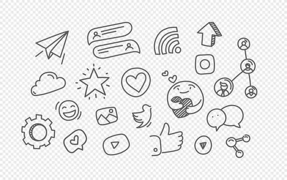 Vector hand drawn doodle style elements isolated on transparent background. Social media elements