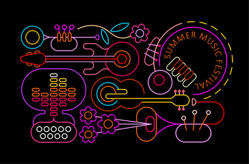 Neon colors isolated on a black background Summer Music Festival vector illustration