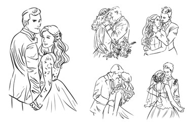 Set of Wedding Couples Vector Lineart
