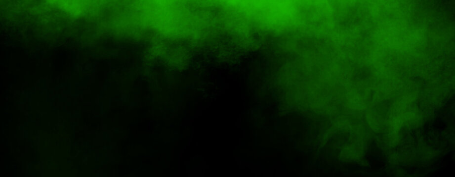 Panoramic green fog mist texture overlays. Abstract smoke isolated background for effect, text or copyspace . Stock illustration.