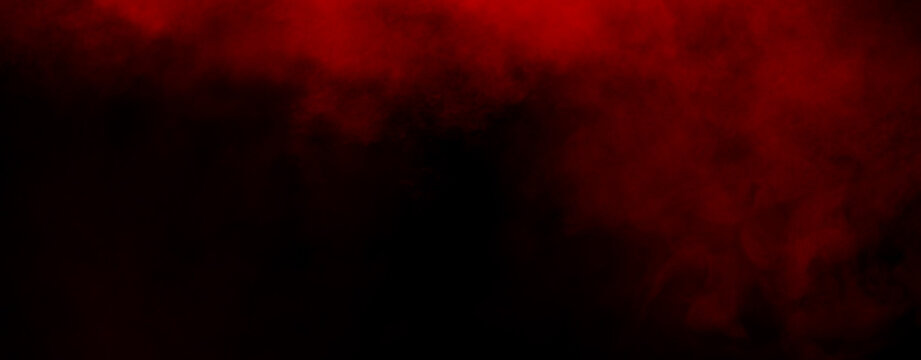 Panoramic red fog mist texture overlays. Abstract smoke isolated background for effect, text or copyspace . Stock illustration.