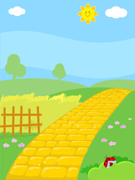 Cartoon yellow brick road in countryside, vector illustration background for kids