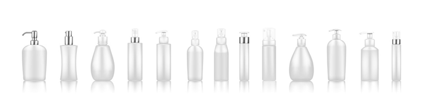 Pump bottle mockups: serum, moisturizer, soap, cream, sanitizer. Plastic package design with silver elements. Cosmetic, hygiene, skincare template. Set of isolated 3d realistic vector illustrations