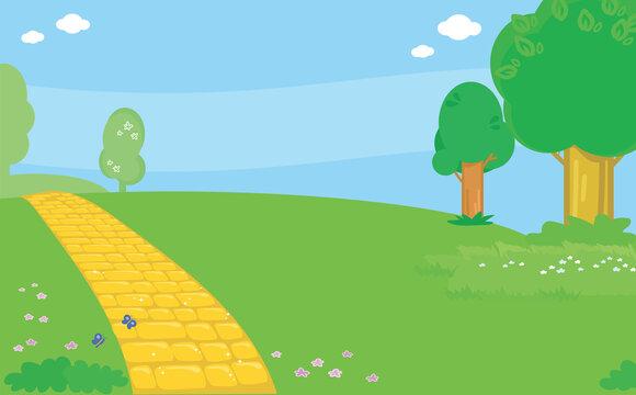 Yellow brick road landscape vector background