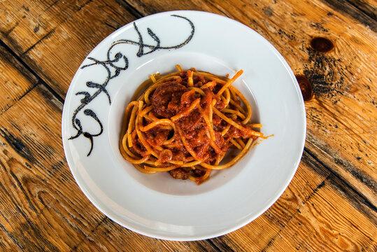 Spaghetti with Amatriciana sauce, a traditional Italian pasta speciality