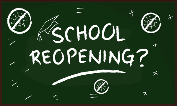 illustration vector : Covid 19 pandemic of schools reopening conceptual with chalkboard