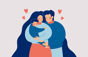 Happy young mother and father embrace their child with care and love. Family concept. Vector illustration