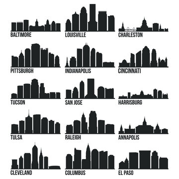 Most Famous USA Cities Skyline City Silhouette Design Collection Set 3