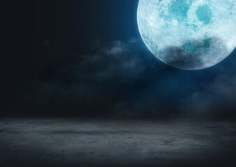 halloween background concept, backgrounds night sky with full moon and clouds. Elements of this image furnished by NASA