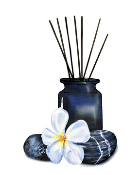 Watercolor composition of SPA and aromatherapy items. Black vase with scented candles and frangipani flower with hot stones for stone therapy and massage isolated. Design for beauty salons, Wellness