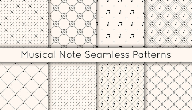 Set of 8 vector seamless retro pattern with different musical note icons, treble clef and polka dot. Various musical symbols background. Repeatable texture for prints, wrapping paper, textile