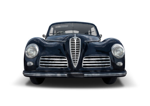Classic Italian car front view isolated on white background
