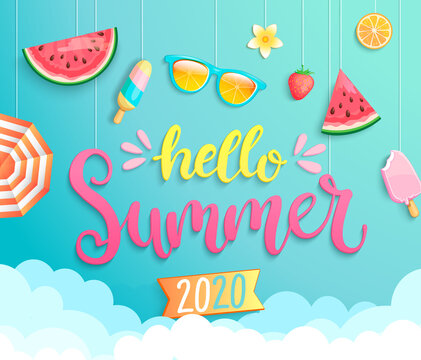 Hello summer 2020 greeting banner wih hot season elements. Invitation poster with strawberry, ice cream,sunglasses and watermelon hanging above the clouds.Template for design.Vector Illustration.