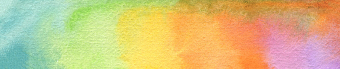 Long horizontal watercolor painting background. Paper texture.