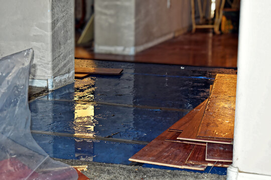 Water Damage to Floor with Water Removal Equipment