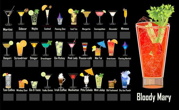 Mixed Drinks Menu Design