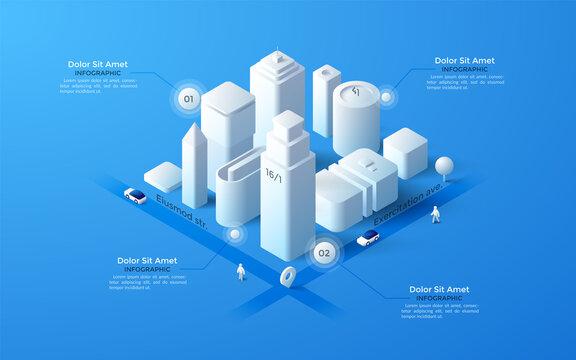 Vector isometric white city template