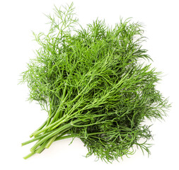 Fresh dill bunch on a white background, isolated. The view from top