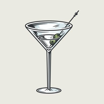 Cocktail martini glass with olives bar menu