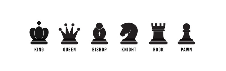 Chess pieces icon set. Included icon king, queen, bishop, knight, rook, pawn. Black silhouettes isolated on white background. Chess pictogram. Set of strategy icons in line style Vector symbols. Wall mural