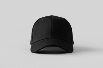 Obraz Black baseball cap mockup on a grey background, front view. - fototapety do salonu
