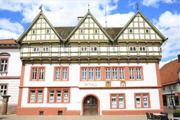 The historic town hall in Blomberg, Westphalia, Germany, 05-26-2020