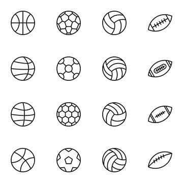 Balls solid icon set. Simple basketball, football, volleyball, soccer ball outline icons sign, vector illustration.
