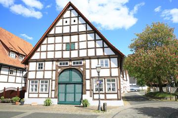 Historic downtown in Lügde, Westphalia, Germany, 05-26-2020
