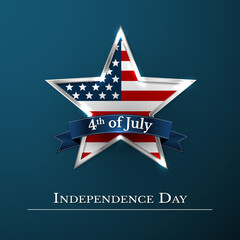 4 th july usa star in national colors of America. Independence day. Vector illustration