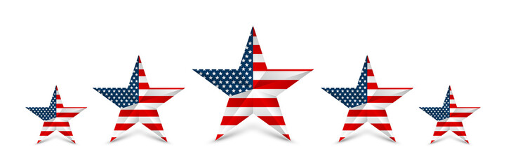 USA star in national colors of America. Independence day. Vector illustration