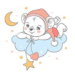Vector illustration of a cute baby bear in pink nightwear, lying on the cloud among the stars.
