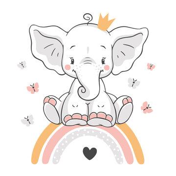 Vector illustration of a cute baby elephant, sitting on a rainbow.