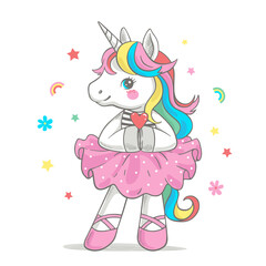 Vector illustration of a cute unicorn ballerina in a pink tutu and pointe shoes.