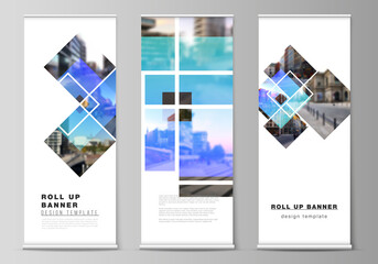 The vector illustration of the editable layout of roll up banner stands, vertical flyers, flags design business templates. Creative trendy style mockups, blue color trendy design backgrounds.