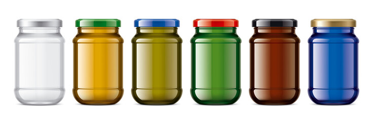 Set of Colored Glass Jars.